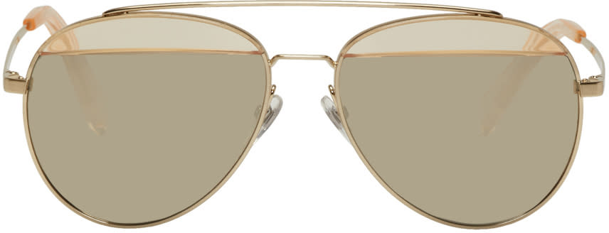 7bba119147 Oliver Peoples Pour Alain Mikli Gold Paon Aviator Sunglasses