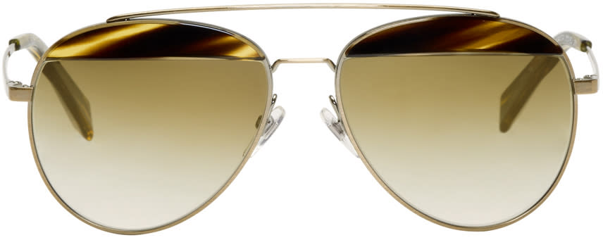 Image of Oliver Peoples Pour Alain Mikli Gold Paon Aviator Sunglasses