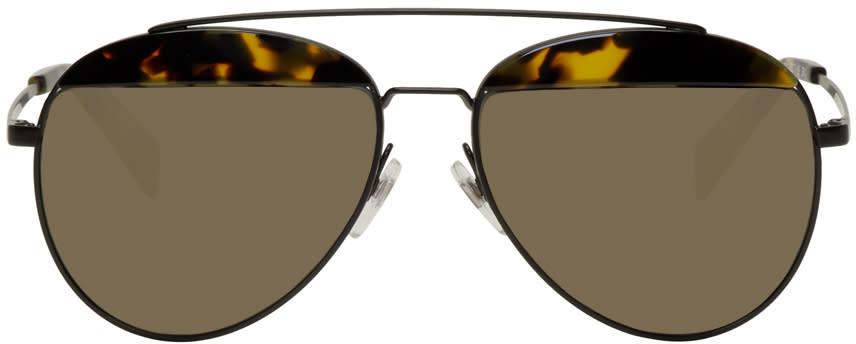 Image of Oliver Peoples Pour Alain Mikli Black Paon Aviator Sunglasses