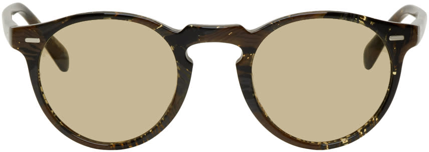 Image of Oliver Peoples Pour Alain Mikli Brown Gregory Peck Sunglasses
