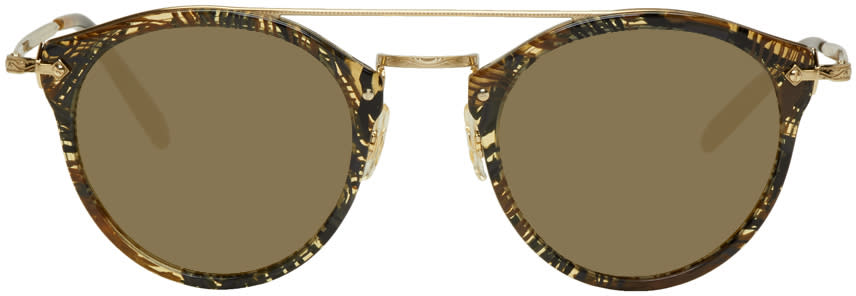 Image of Oliver Peoples Pour Alain Mikli Gold and Brown Remick Sunglasses