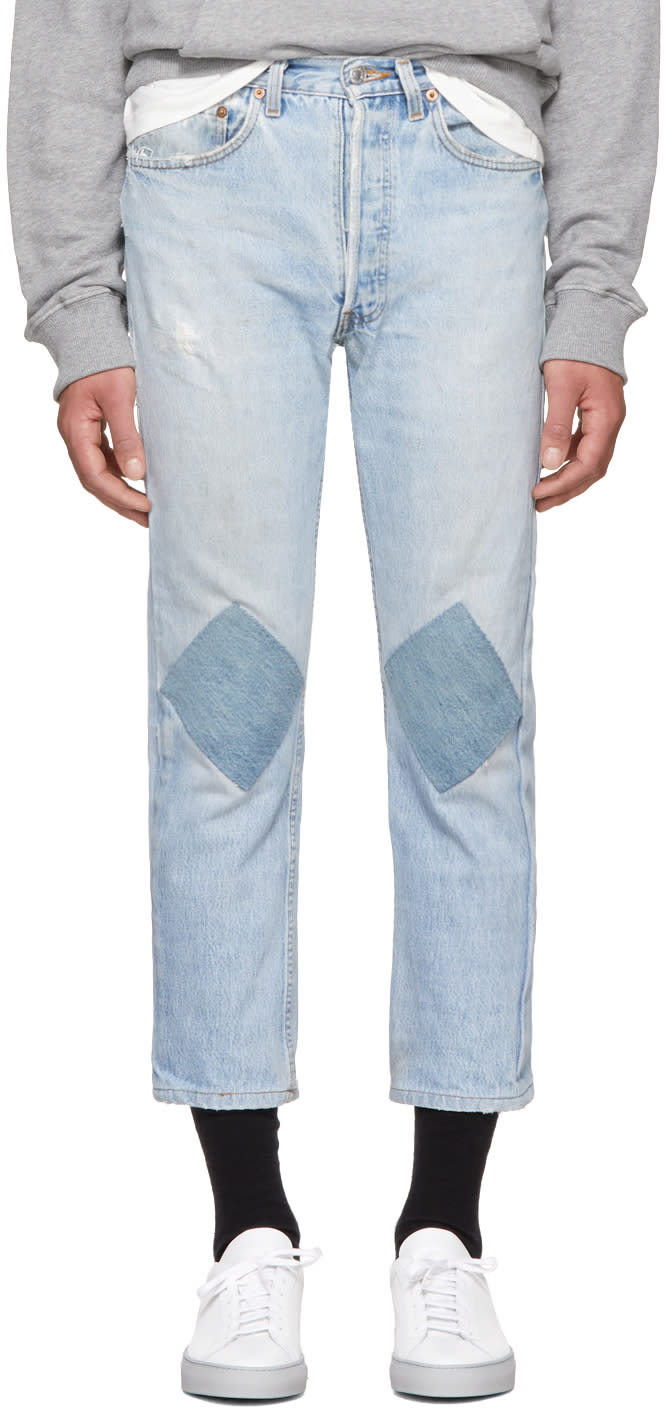 Image of B Sides Indigo Two Patch Jeans
