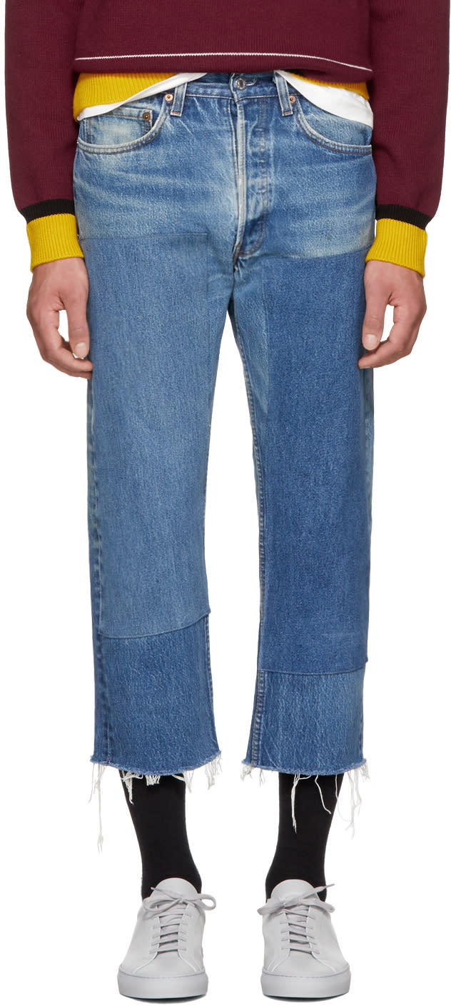 Image of B Sides Indigo Large Two Patch Jeans
