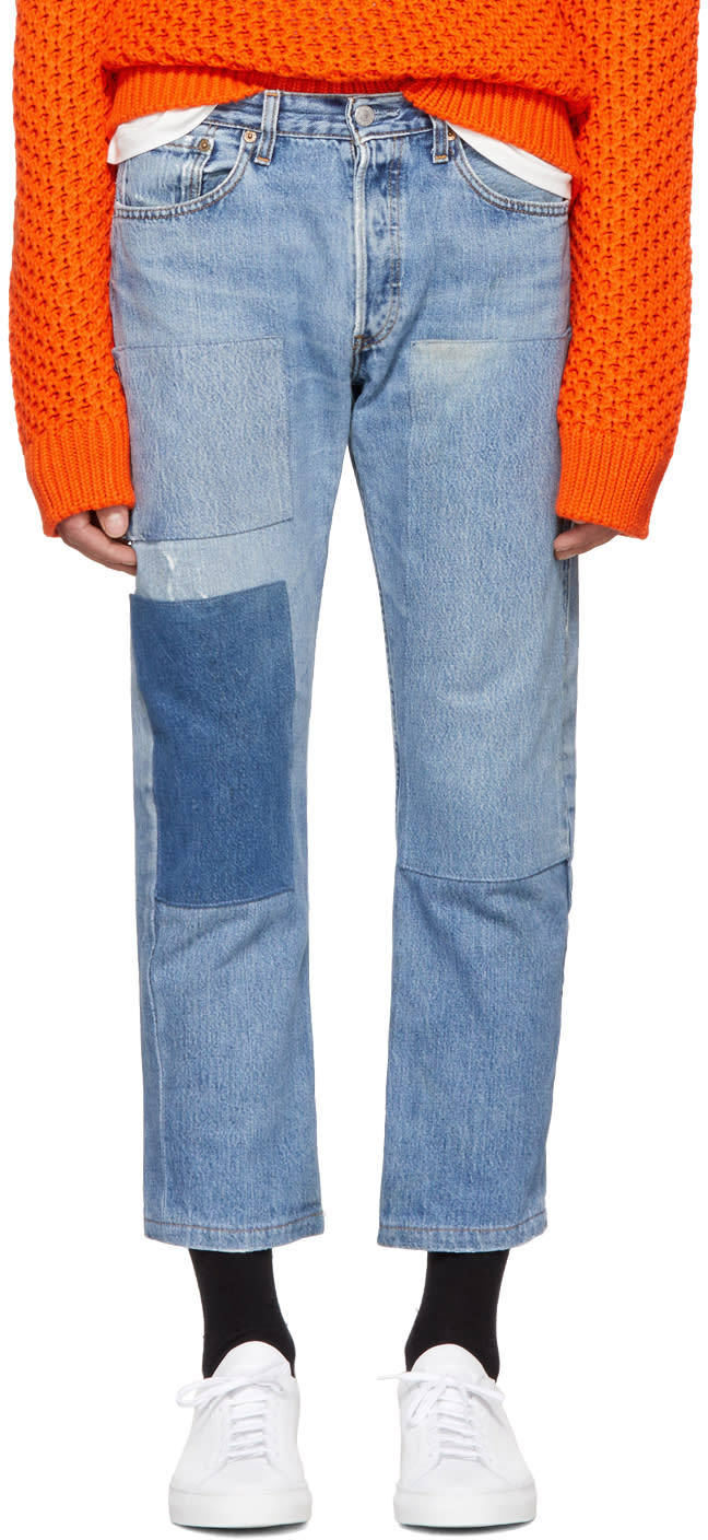 Image of B Sides Indigo Three Patch Jeans