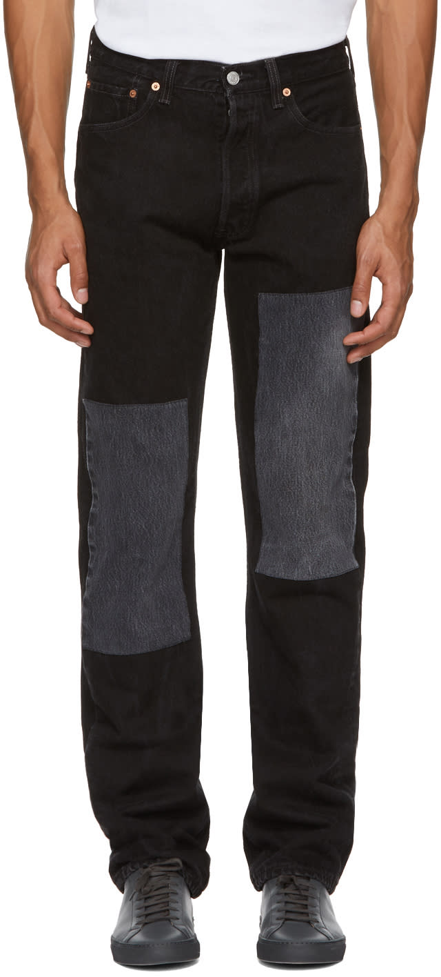 Image of B Sides Black Two Patch Jeans