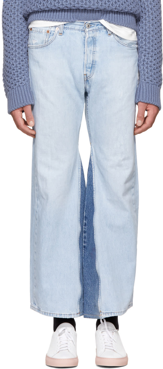Image of B Sides Indigo Fretwork Culotte Jeans