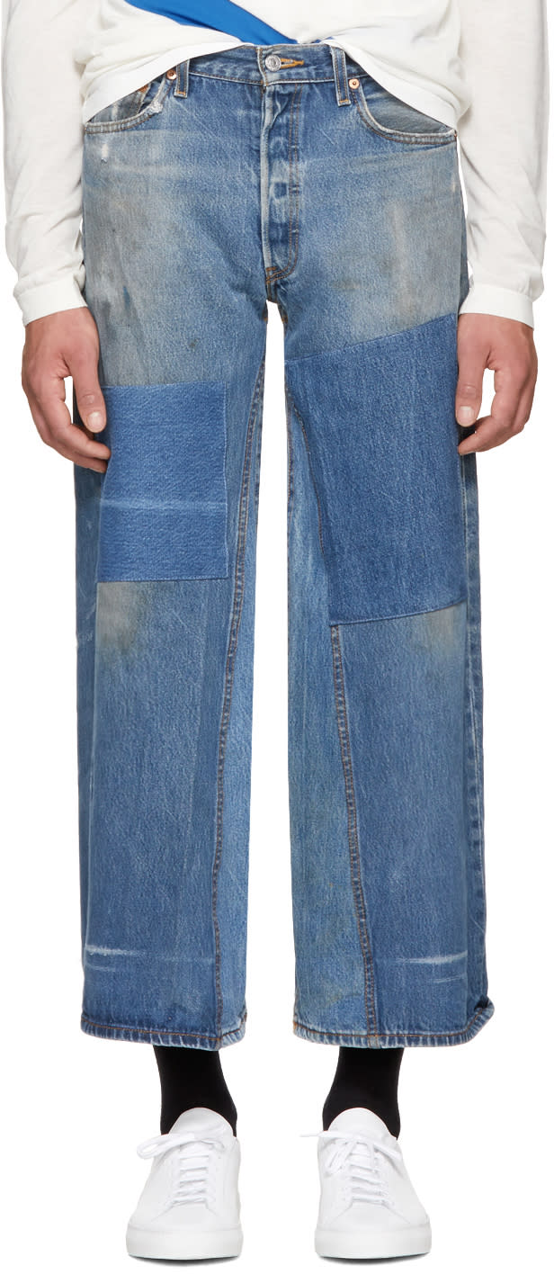 Image of B Sides Indigo Patchwork Culotte Jeans