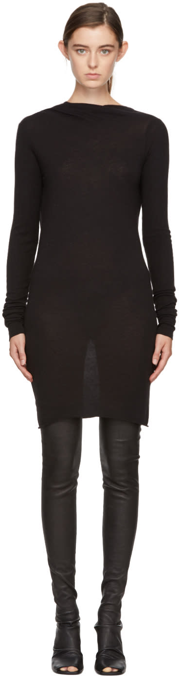 Image of Rick Owens Lilies Black Long Sleeve Backless Dress