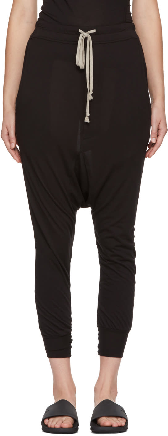 Image of Rick Owens Lilies Black Drawstring Lounge Pants