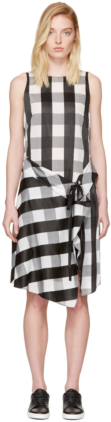 Image of Rag and Bone Black and White Check Brighton Dress
