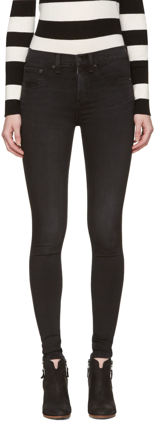 Image of Rag and Bone Black 10 Inch Skinny Jeans