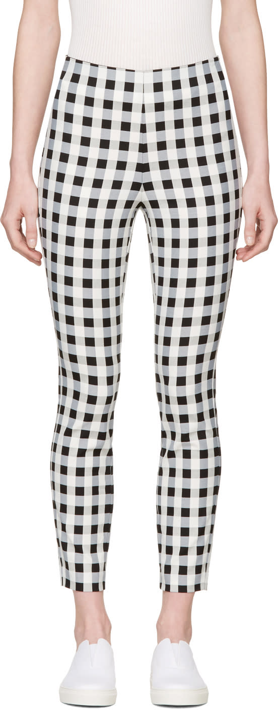 Image of Rag and Bone Black and White Check Simone Trousers