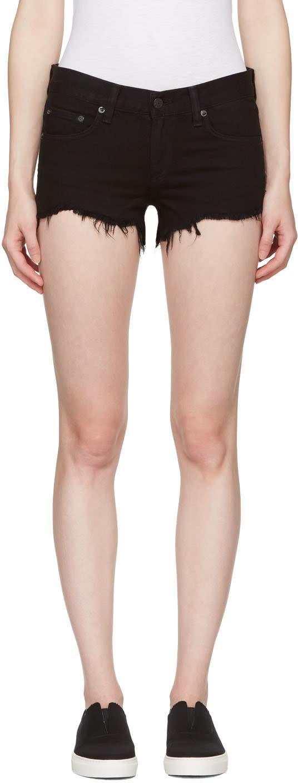 Rag and Bone Black Cut-off Jean Shorts