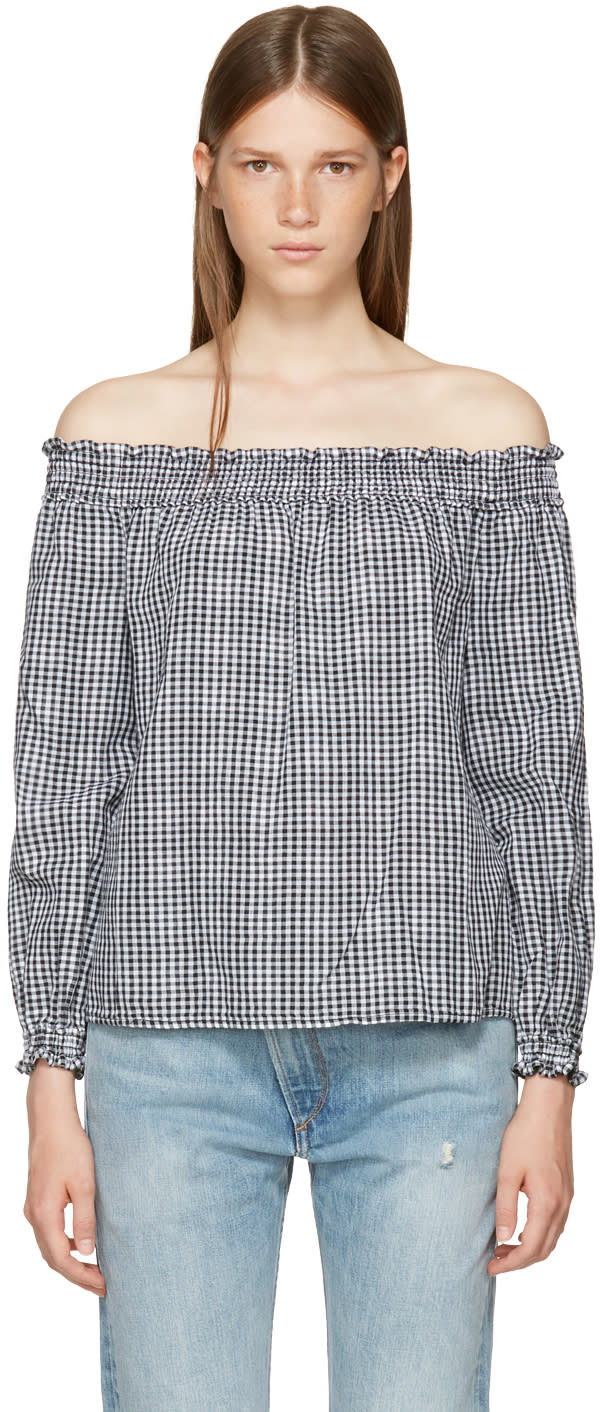 Image of Rag and Bone Black and White Gingham Off-the-shoulder Blouse