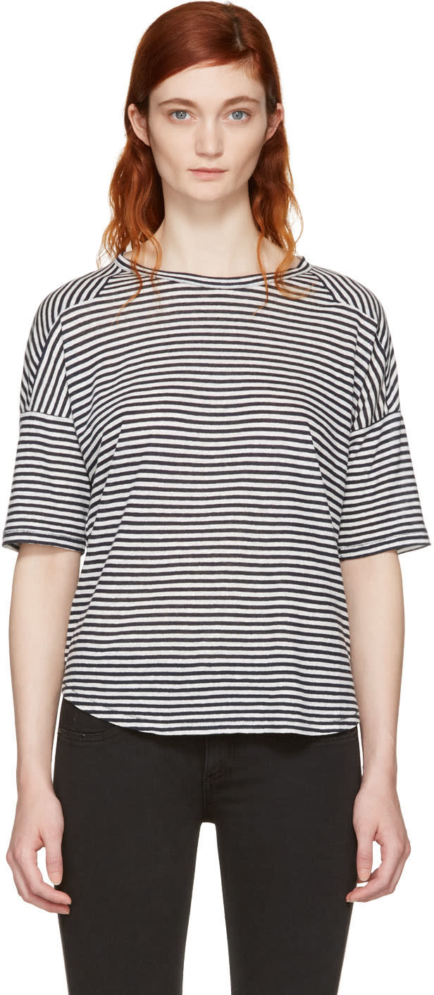 Rag and Bone White and Navy Striped Valley T-shirt