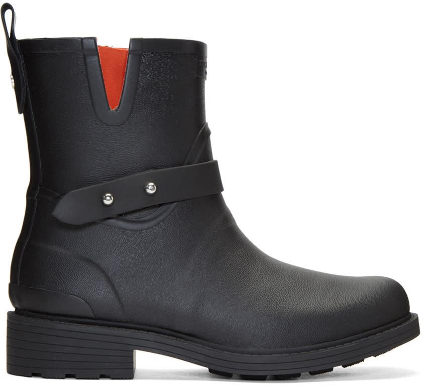 Rag and Bone Black Moto Rain Boots
