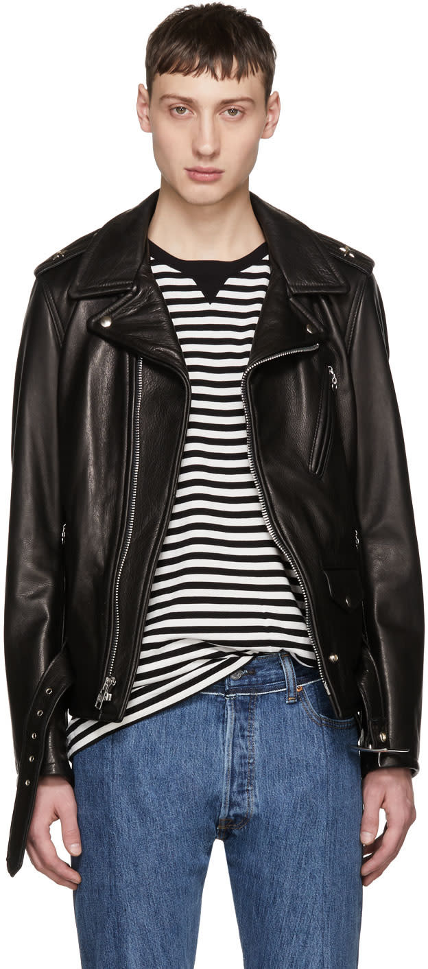 Image of Schott Black Leather Perfecto Jacket