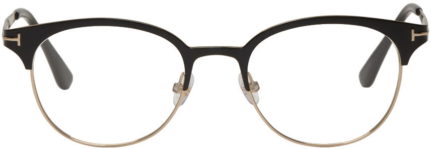 Image of Tom Ford Black and Gold Titanium Round Glasses