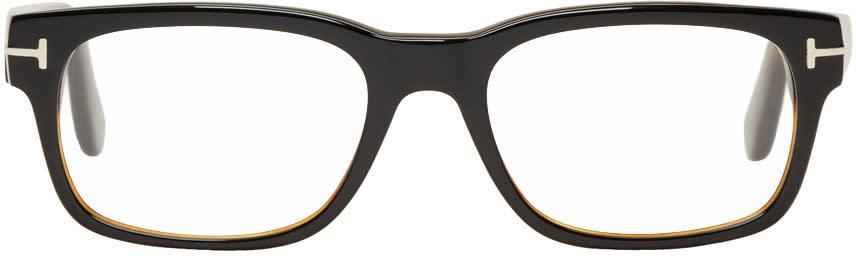 Image of Tom Ford Black and Tortoiseshell Square Glasses