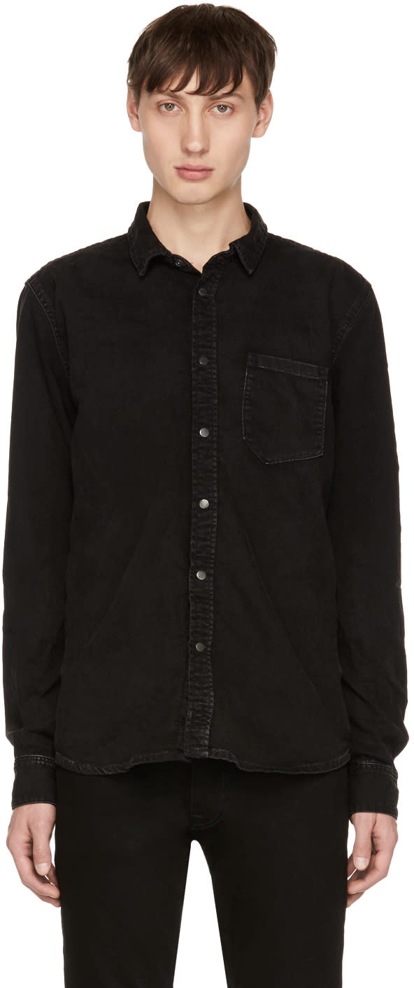 Image of Nudie Jeans Black Denim Henry Shirt