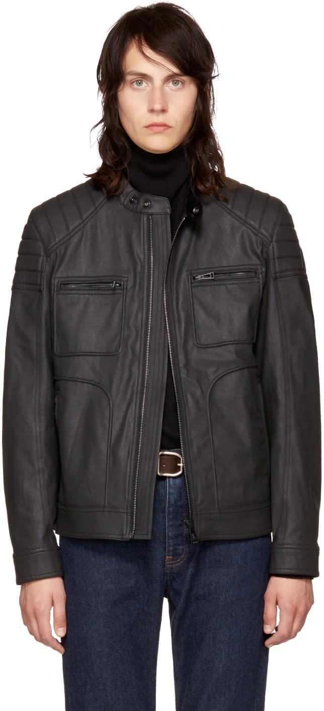 Belstaff ブラック コーティング デニム ウェイブリッジ ジャケット
