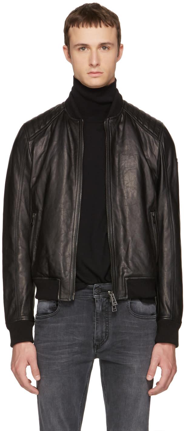 Image of Belstaff Black Leather Pershall Jacket