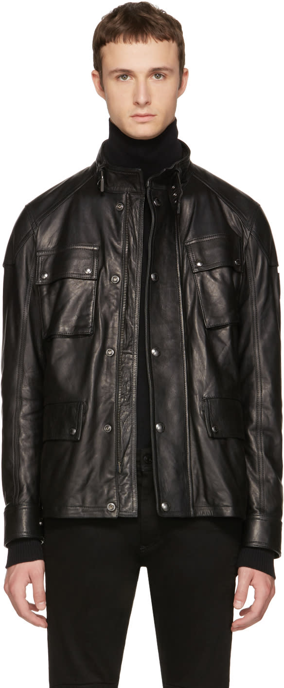 Image of Belstaff Black Leather Woodbridge Jacket