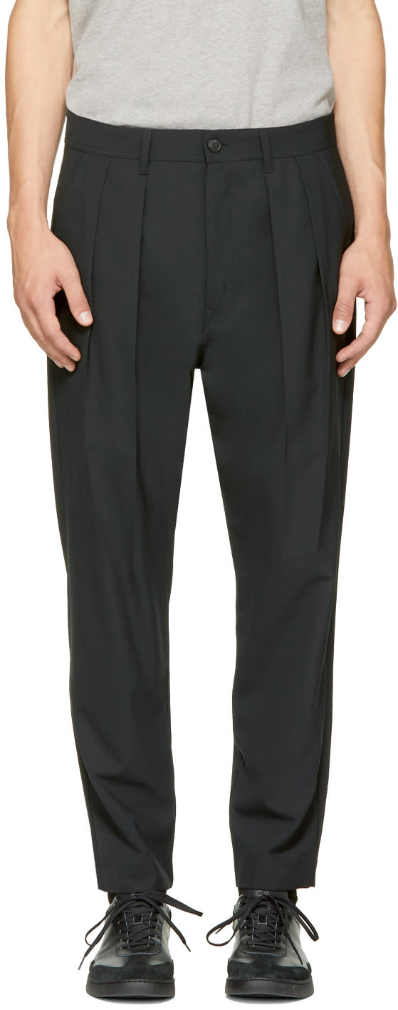 Image of Diesel Black Gold Black Double Pleated Trousers