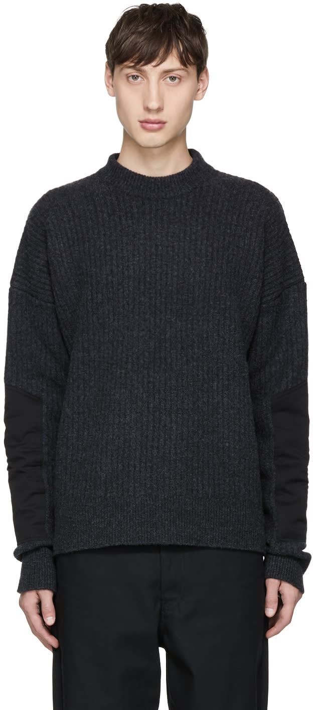 Diesel Black Gold Grey Wool Mock Neck Sweater