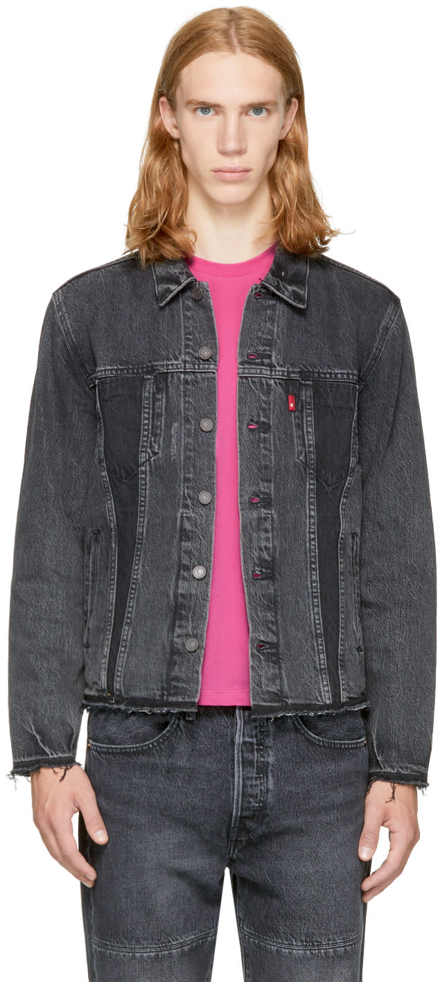 Image of Levis Black Denim Altered Trucker Jacket