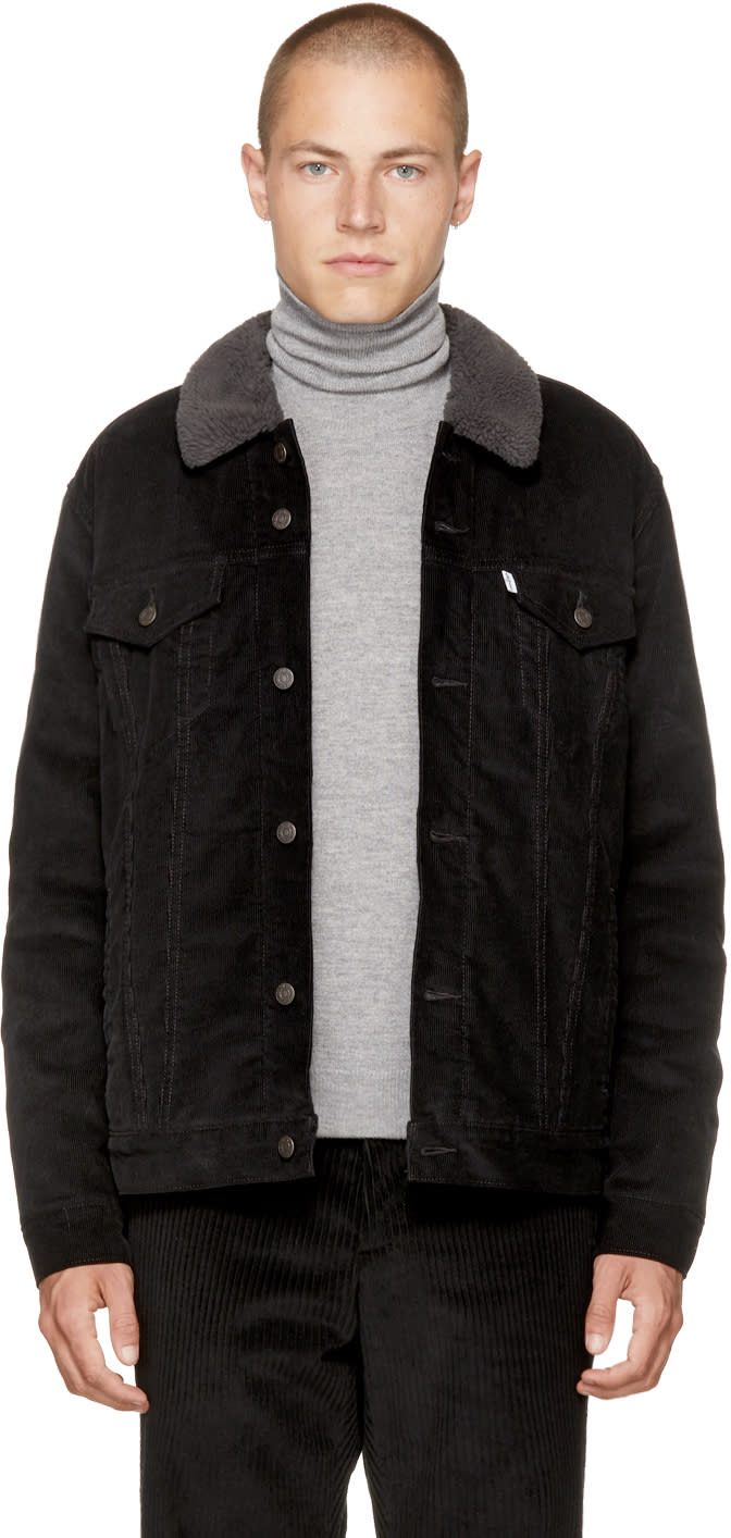 Image of Levis Black Corduroy Good Sherpa Trucker Jacket