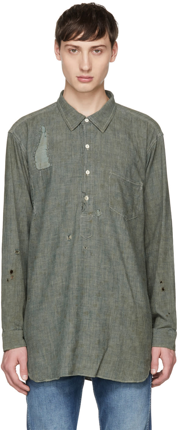Image of Levis Vintage Clothing Grey Chambray Sunset Popover Shirt