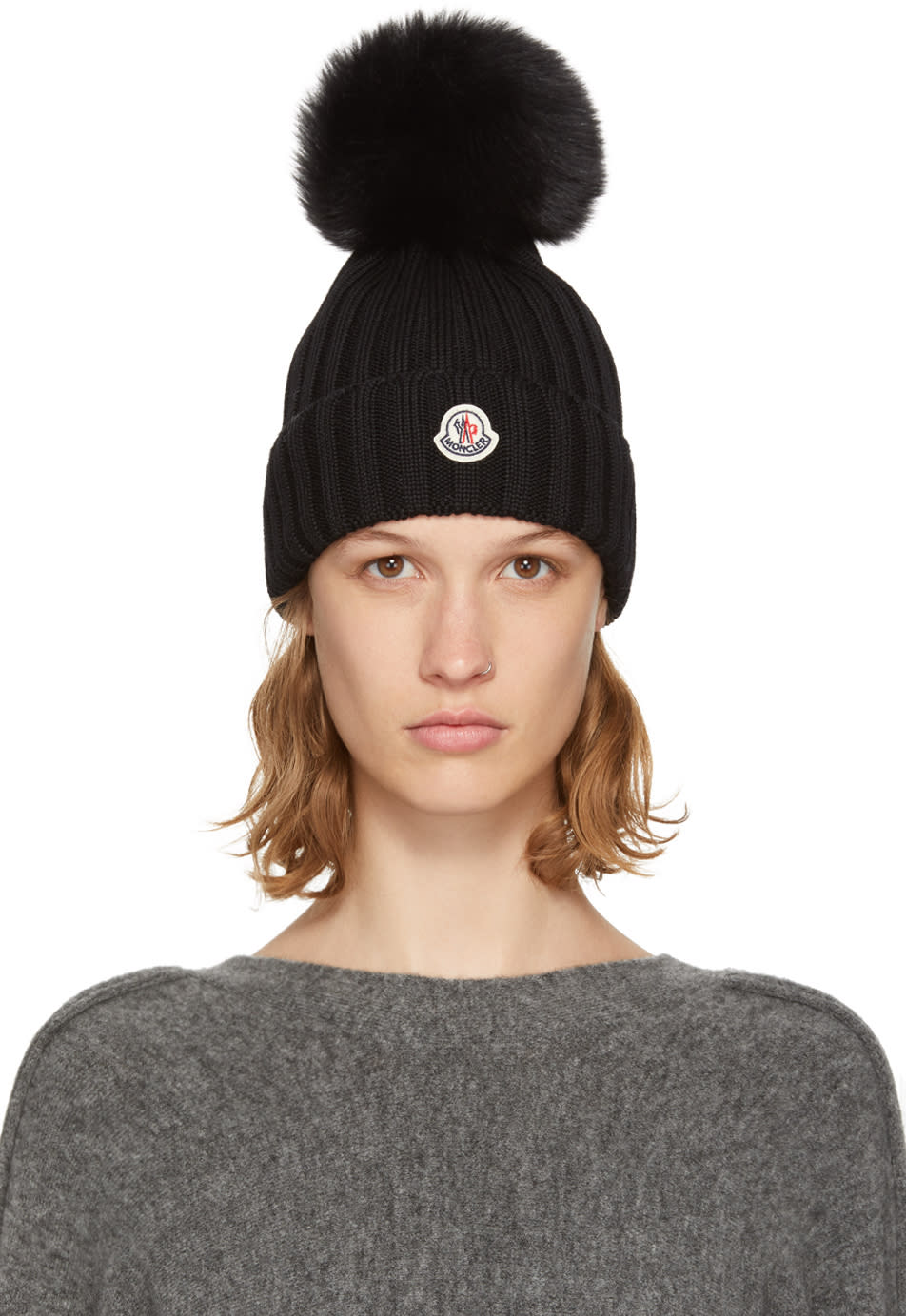 68156e9f4bb Moncler Black Fur Pom Pom Beanie
