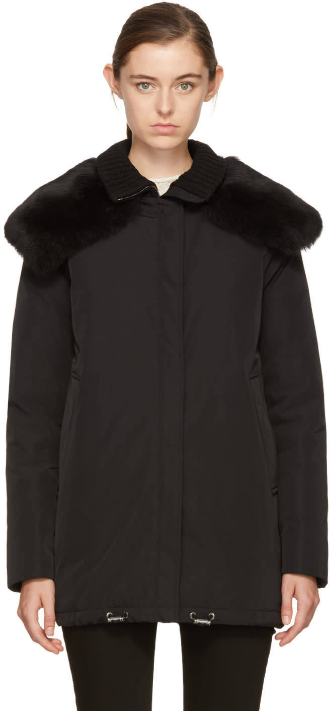 Moncler Black Down and Fur Agapanthus Jacket