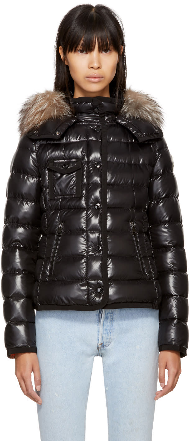 7140d2446 Moncler Black Down Fur Armoise Jacket
