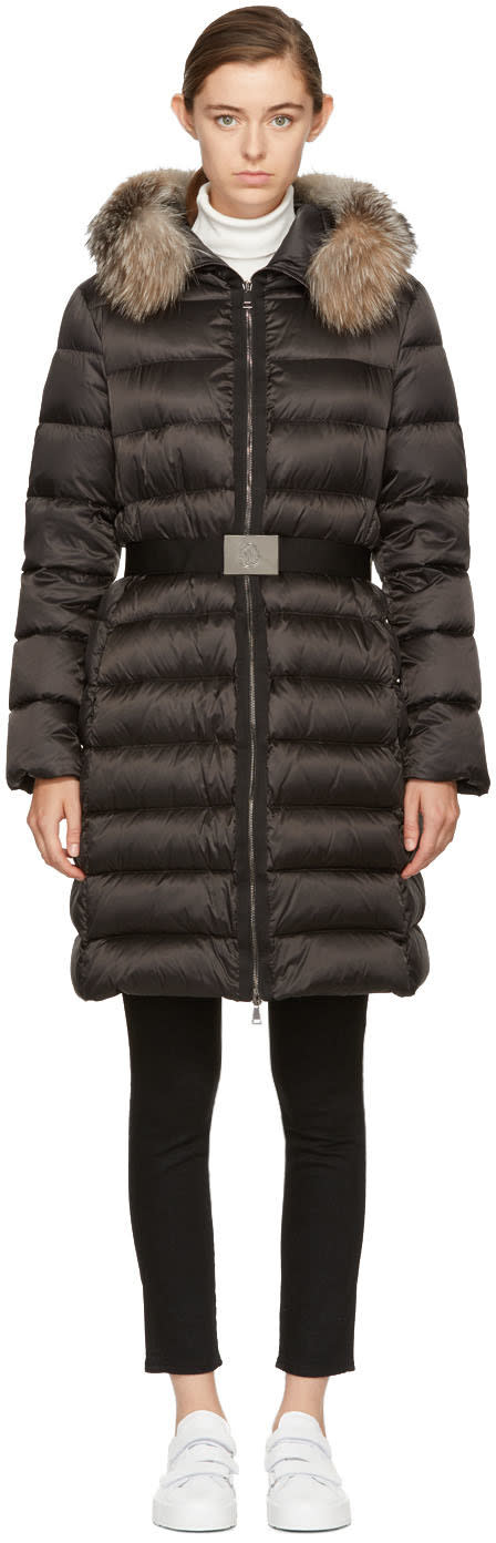 Moncler Black Down and Fur Tinuviel Coat