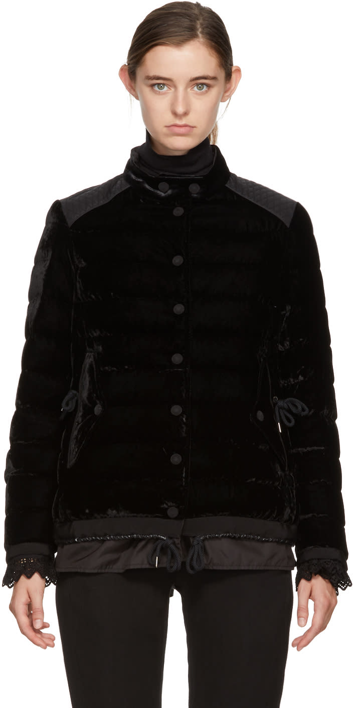Moncler Black Velvet Down Twist Beatrice Jacket