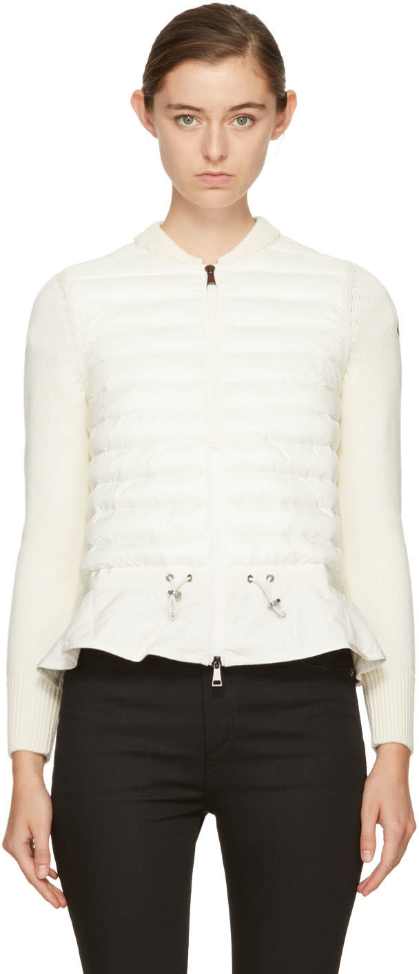 bd4b601f0 Moncler Off white Down Knit Peplum Jacket