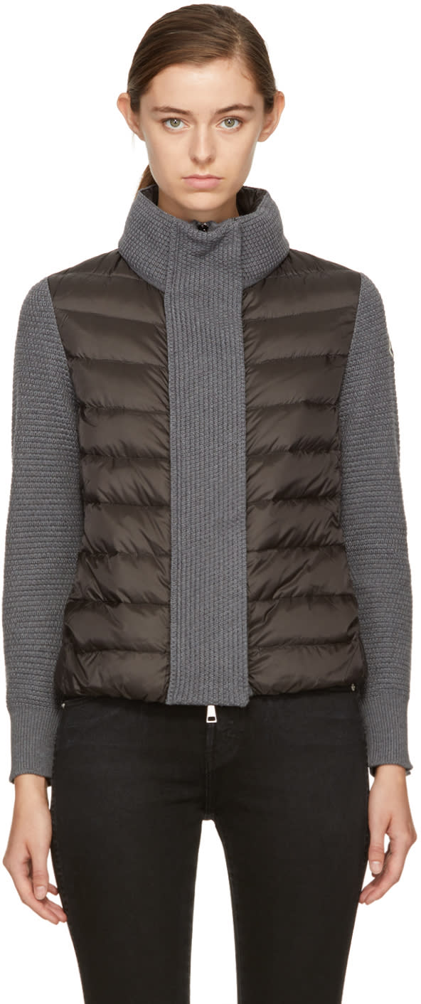 Image of Moncler Black and Grey Down Knit Jacket