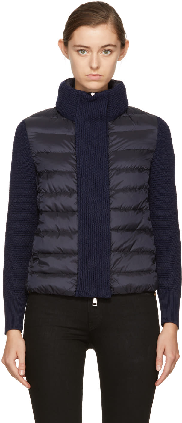 Image of Moncler Black and Navy Down Knit Jacket