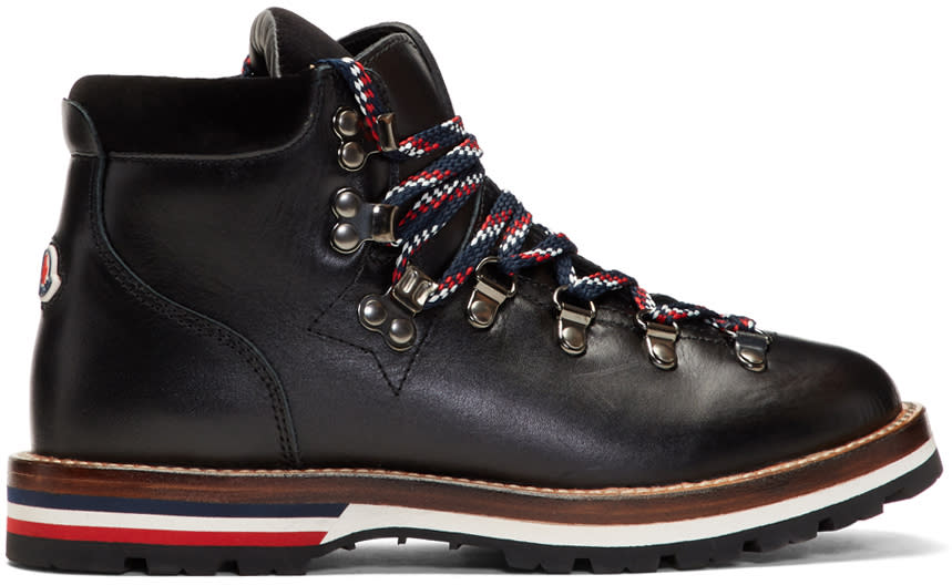 Moncler Black Leahter and Velvet Hiking Boots