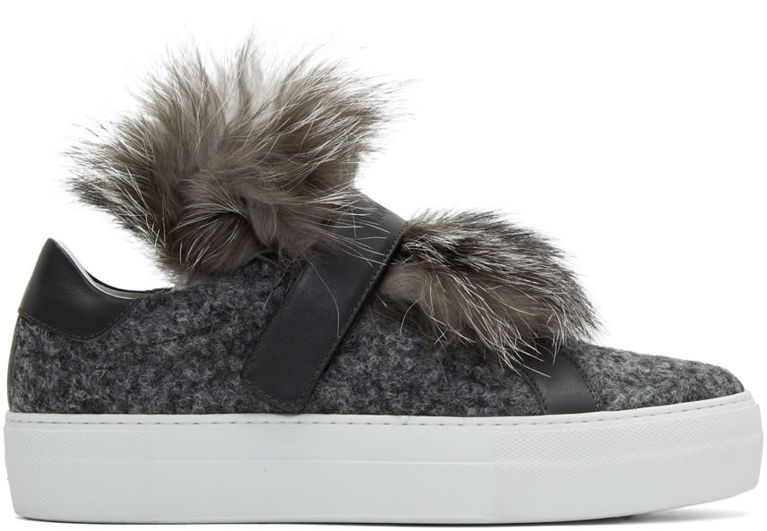 Moncler Baskets à Enfiler Grises Fur Victoire