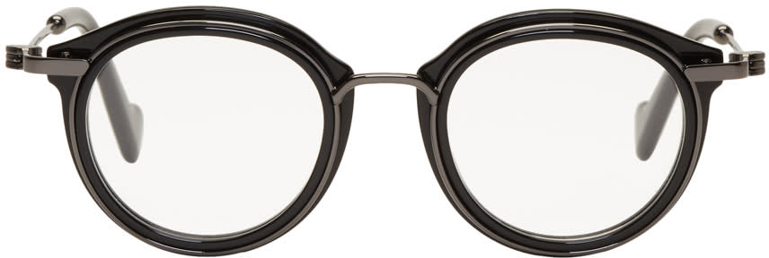 Image of Moncler Black and Gunmetal Ml5007 Glasses