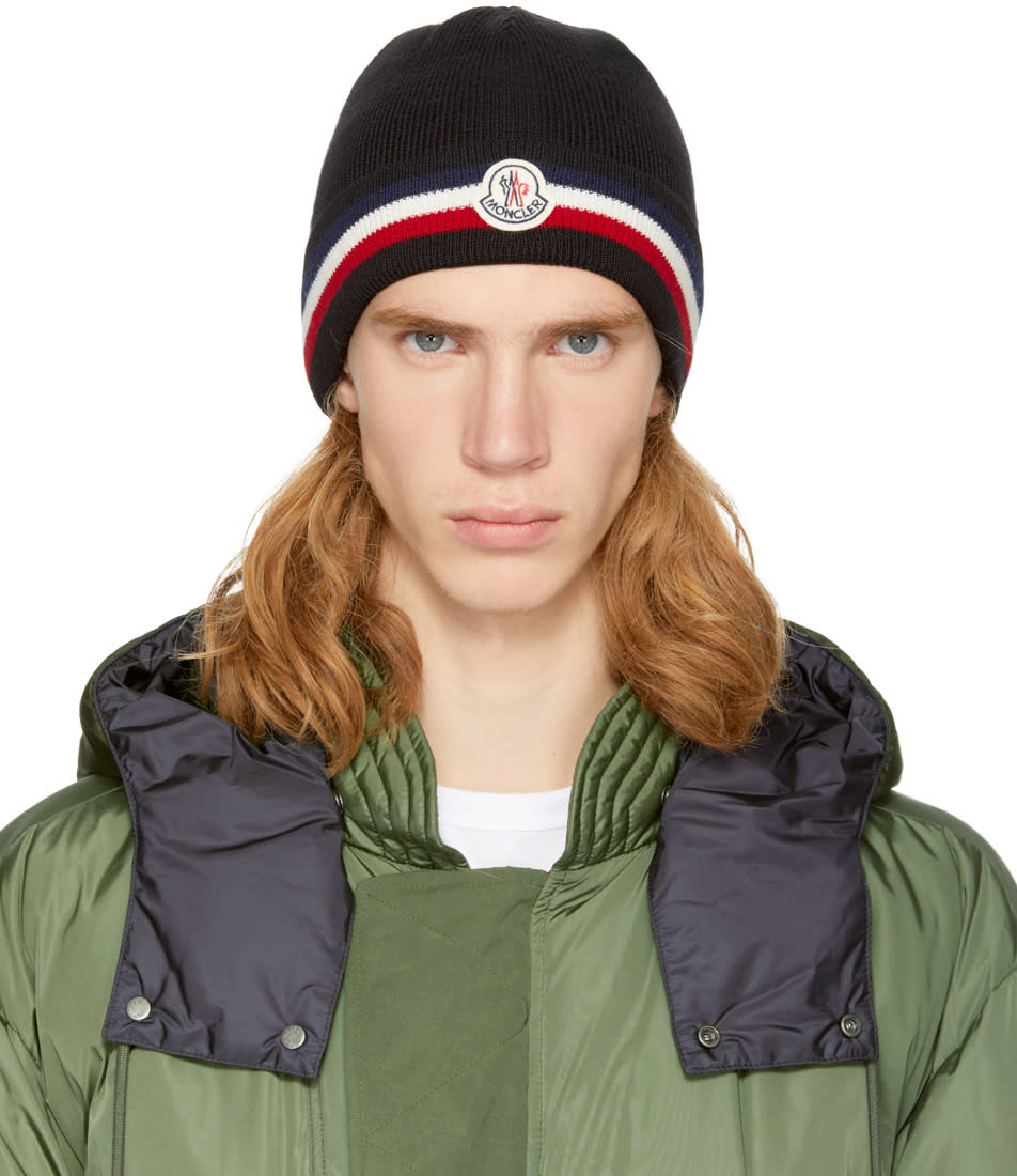Moncler Black Wool Striped Beanie 603e1f42fa8