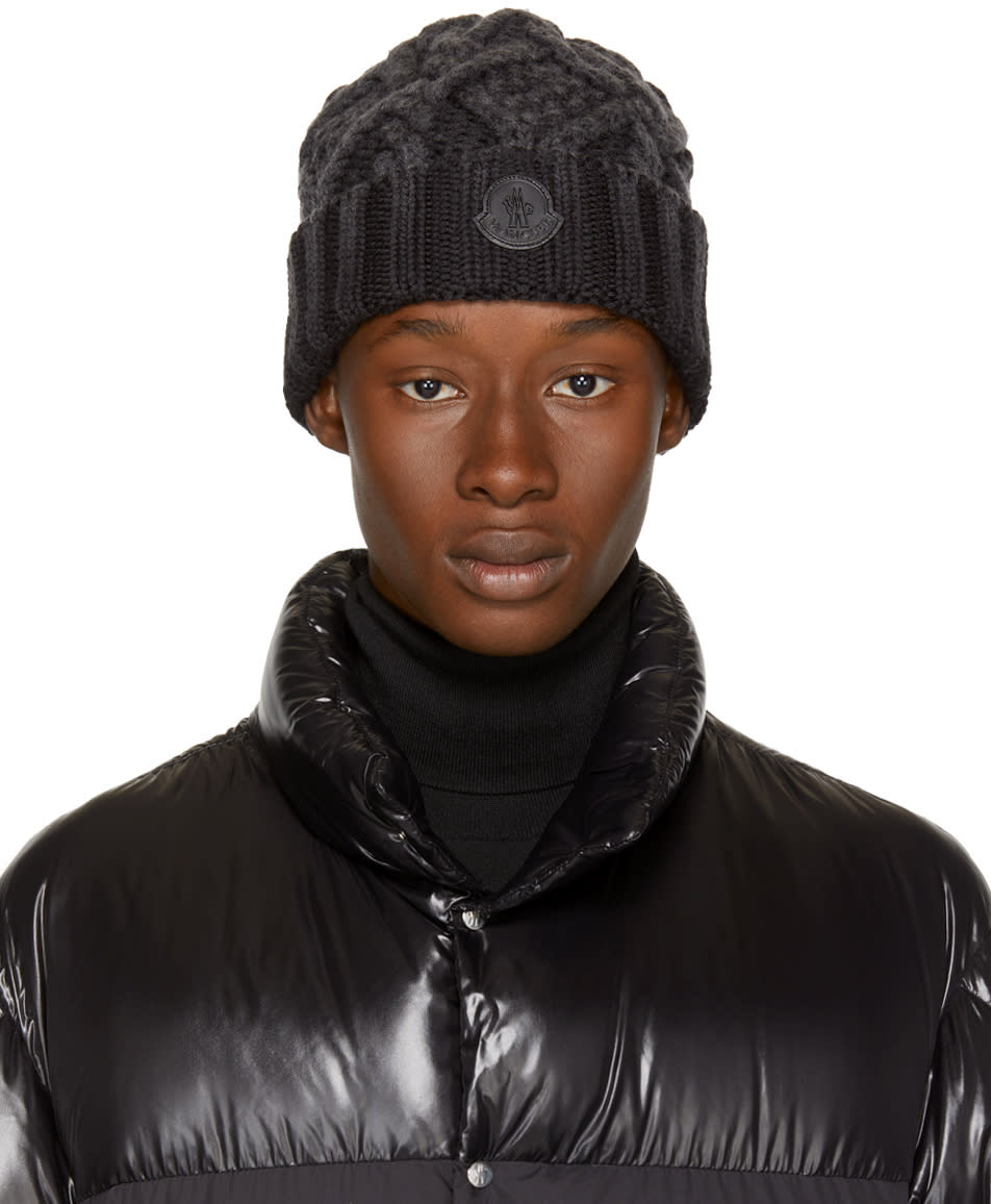 Image of Moncler Black Cable Knit Logo Beanie