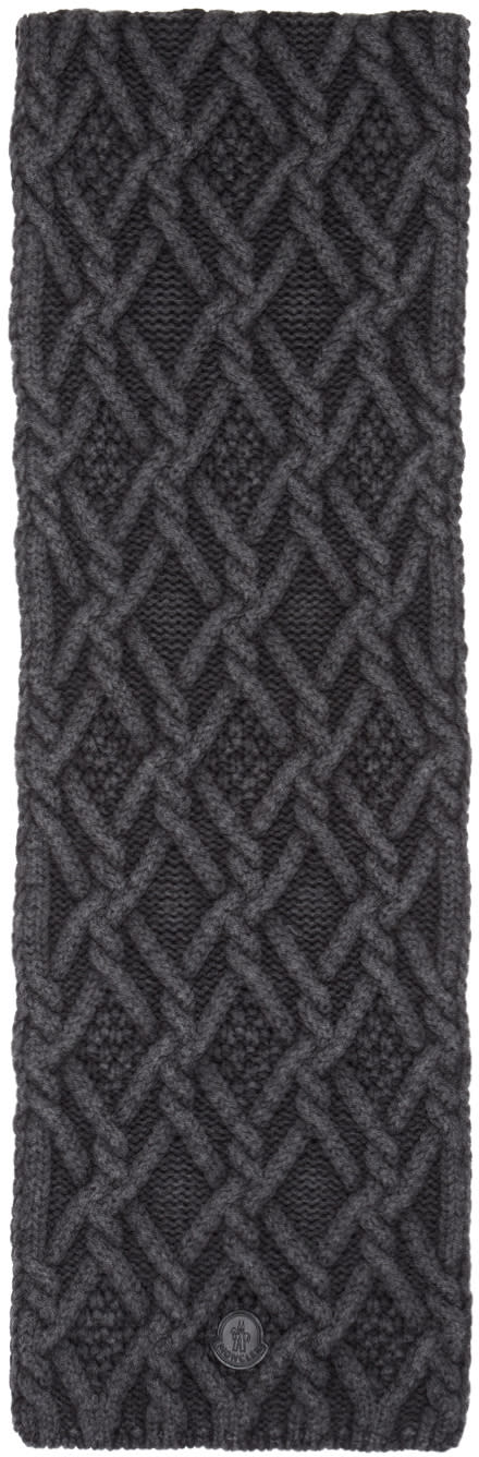Image of Moncler Black Cable Knit Scarf