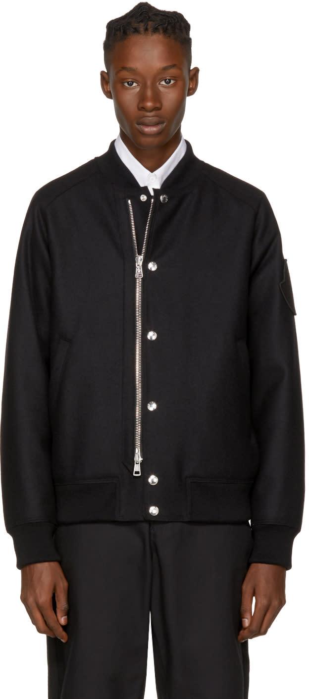 Moncler Black Down Ica Bomber Jacket