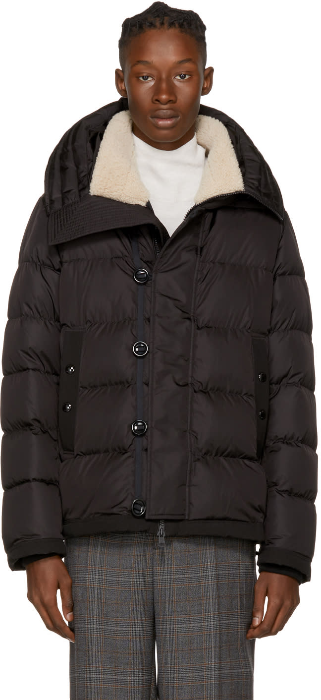 Moncler Black Down Shearling Pyrenees Jacket