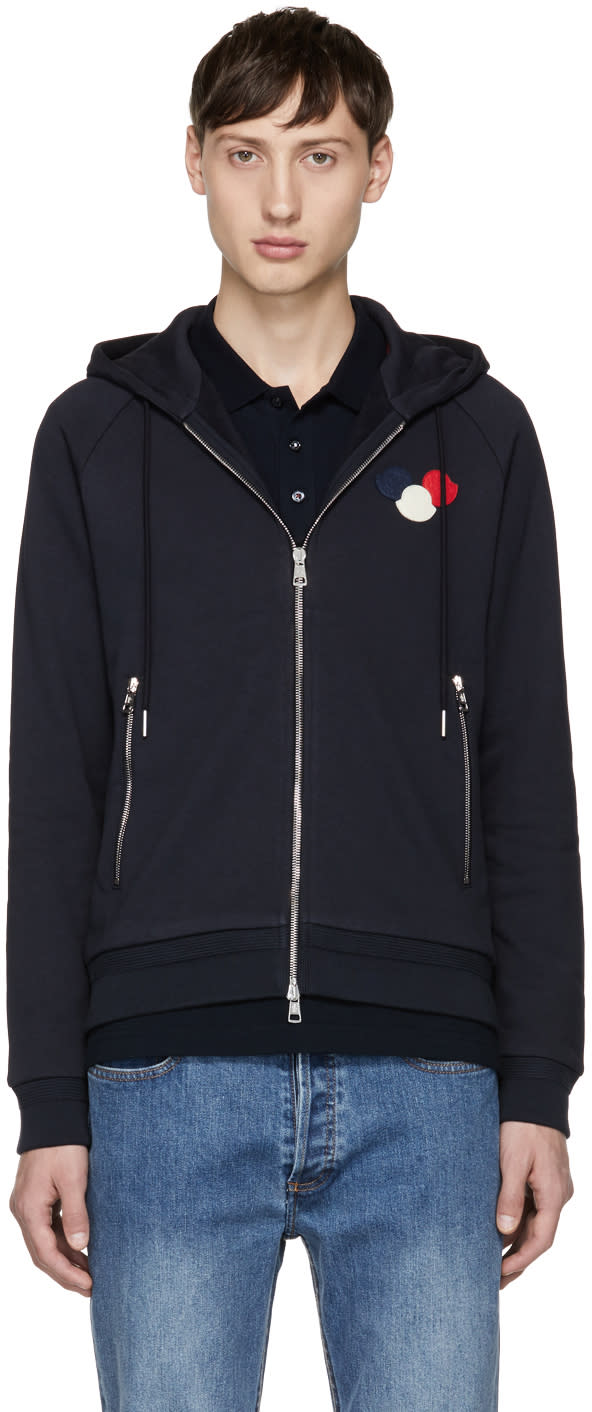 Moncler Navy Logo Zip Hoodie