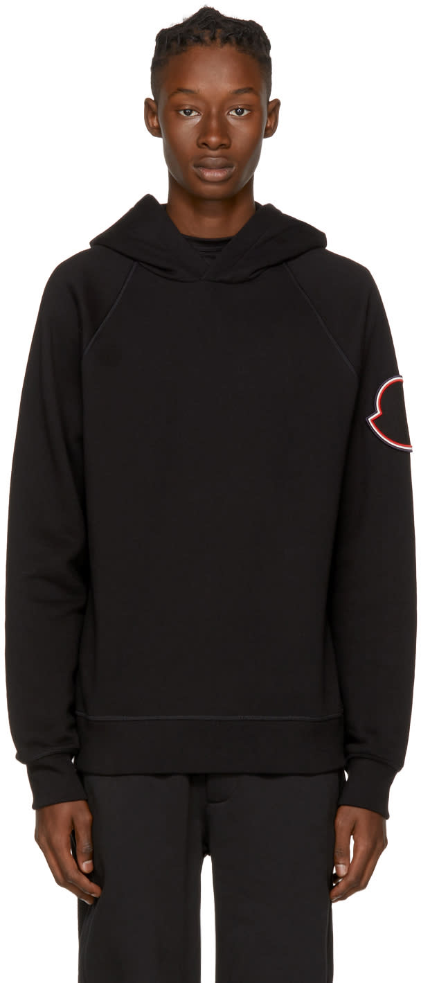 Image of Moncler Black Arm Patch Hoodie